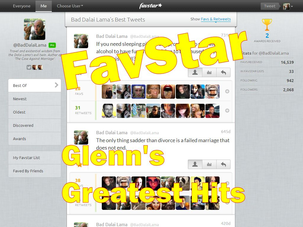 My Most Popular Tweets, as collected by FavStar
