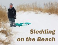 Sledding on the Beach in New Buffalo, Michigan