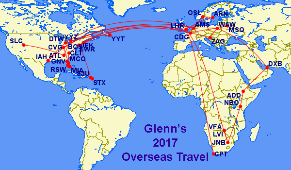 Glenn Campbells Travel Map - Places visited map